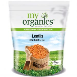 My Organics Retail Doy Pack Lentils Red Split 500g