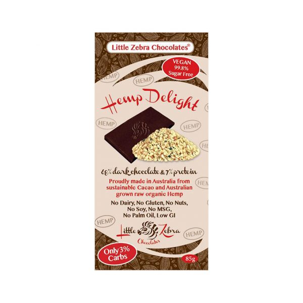 Hemp Store Little Zebra Chocolates Hemp Delight 68 Dark Chocolate 85g