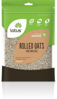 Lotus Organic Raw Rolled Oats 750gm