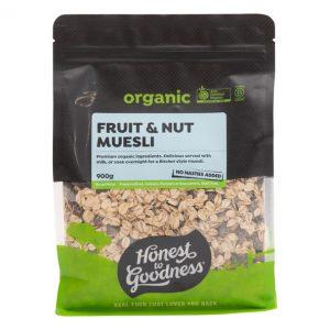 Organic Muesli Fruit Nut 900g Front Cemue2.900. 91898.1615165316